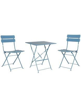 Outdoor meubel-set Esino, 3-delig, Staal, gelakt, Blauw, Verschillende groottes