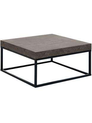 Stolik kawowy Ellis, Stelaż: metal lakierowany, Czarny, odcienie betonowego, S 75 x W 38 cm