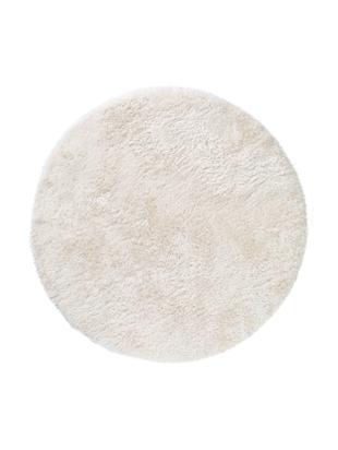 Glänzender Hochflor-Teppich Lea, rund, 50% Polyester, 50% Polypropylen, Weiß, Ø 120 cm (Größe S)