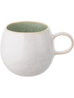 Handbemalte Teetassen Areia, 2 Stück, Steingut, Mint, Gebrochenes Weiß, Beige, Ø 9 x H 10 cm