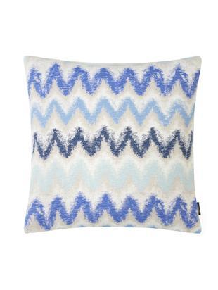 Funda de cojín Pari, Poliéster, Beige claro, tonos azules, An 45 x L 45 cm
