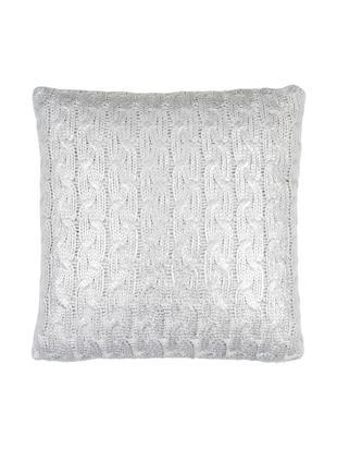 Strick-Kissenhülle Trenes schimmernd/glänzend in Grau und Silber, Acryl, Hellgrau, Silberfarben, 45 x 45 cm