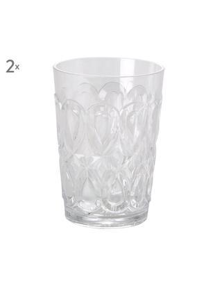 Acryl-Gläser Swirly mit verzierendem Relief, 2er-Set, Acrylglas, Transparent, Ø 9 x H 12 cm