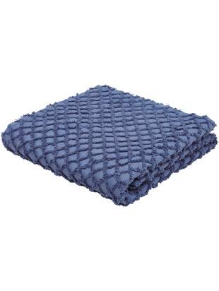 Tagesdecke Royal mit Hoch-Tief-Muster, Baumwolle, Blau, 180 x 260 cm