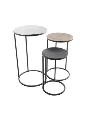 Komplet stolików pomocniczych Calvin, 3 elem., Blat: aluminium powlekane, Stelaż: metal lakierowany, Aluminium, mosiądz, Różne rozmiary
