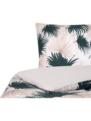 Parure copripiumino reversibile in raso di cotone Aloha, Tessuto: raso, Fronte: beige, verde Retro: beige, 155 x 200 cm
