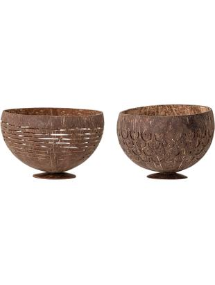 Set di 2 ciotole Koko, Noce di cocco, Marrone, Ø 15 cm