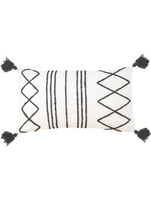 Kissenhülle Istanbul mit Hoch-Tief-Muster aus Chenille und Quasten, 50% Baumwolle, 50% Velours, Weiß, Schwarz, 30 x 50 cm