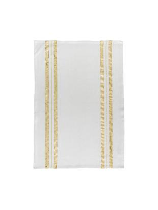 Geschirrtuch Corinne mit goldenen Details, Baumwolle, Weiß, Goldfarben, 50 x 70 cm