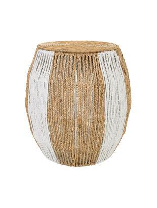 Taburete de exterior Ainhoa, Interior: metal, fibras de densidad, Beige, blanco, Ø 48 x Al 50 cm