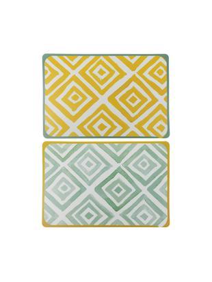 Tischsets Oriental, 6er Set, Kunststoff, Weiß, Grün, Gelb, B 45 x T 30 cm