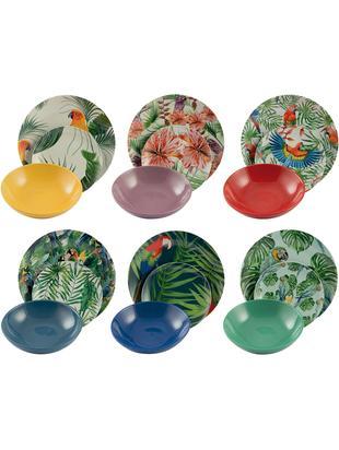 Set di piatti Parrot Jungle, 18 pz., Porcellana, Multicolore, Diverse dimensioni