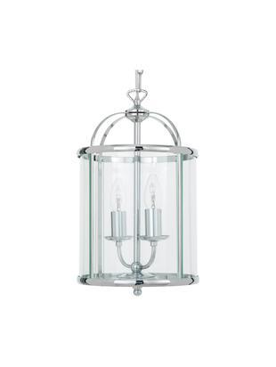 Lámpara de techo Budgie, Pantalla: níquel cromado, vidrio, Anclaje: níquel, cromado, Cromo, transparente, Ø 23 x Al 41 cm