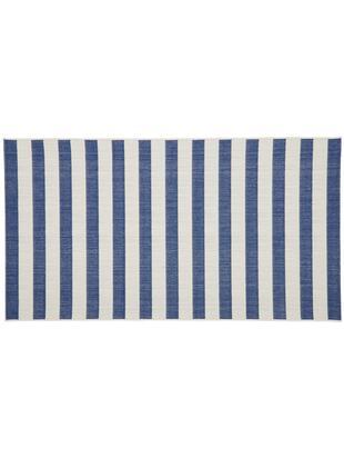 Alfombra de interior/exterior Axa, Parte superior: polipropileno, Reverso: poliéster, Blanco crema, azul, An 80 x L 150 cm (Tamaño XS)