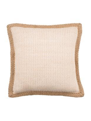 Federa arredo con bordatura in juta Tally, 50% juta, 50% cotone, Bianco, beige, Larg. 45 x Lung. 45 cm