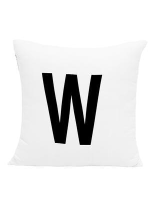 Kissenhülle Alphabet (Varianten von A bis Z), Polyester, Schwarz, Weiß, Kissenhülle W