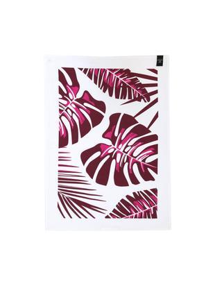 Canovaccio Urban Jungle, 2 pz., 50% lino, 50% cotone, Bianco, bordeaux, Larg. 50 x Lung. 70 cm