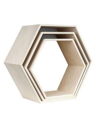 Set de stantes de pared Hexagon, 3pzas., Madera contrachapada, Beige, blanco, Tamaños diferentes