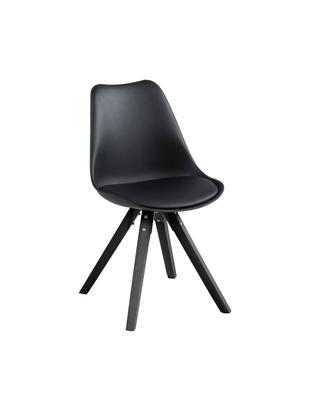Krzesło tapicerowane Elin, 2 szt., Tapicerka: sztuczna skóra (100%poli, Nogi: drewno kauczukowe, lakier, Czarny, S 49 x W 85 cm