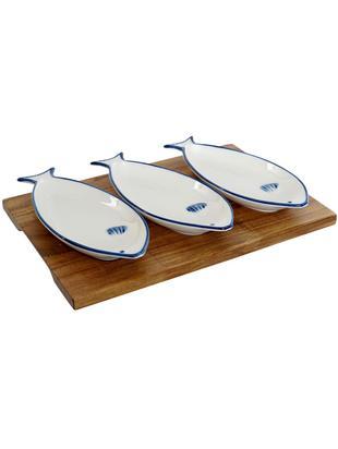 Set de servir Ryba, 4pzas., Cuencos: porcelana, Bandeja: madera de acacia, Blanco, Azul, An 28 x Al 4 cm