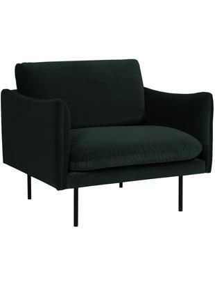 Samt-Sessel Moby, Bezug: Samt (Hochwertiger Polyes, Gestell: Massives Kiefernholz, Füße: Metall, pulverbeschichtet, Samt Dunkelgrün, B 90 x T 90 cm