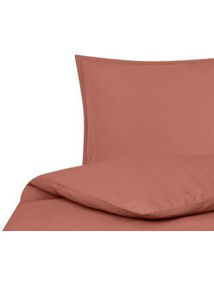Parure copripiumino in lino lavato Breezy, 52% lino, 48% cotone Con effetto stonewash per una presa morbida, Terracotta, 155 x 200 cm