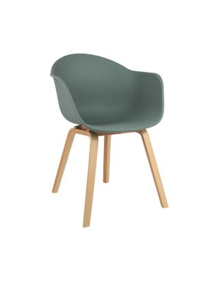 Kunststoff-Armlehnstuhl Claire mit Holzbeinen, Sitzschale: Kunststoff, Beine: Buchenholz, Kunststoff Grün, B 61 x T 58 cm