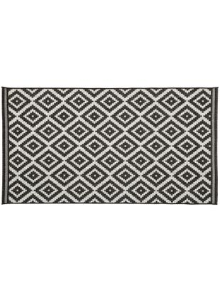 Tappeto da interno-esterno Miami, Vello: polipropilene, Retro: poliestere, Bianco, nero, Larg. 80 x Lung. 150 cm (taglia XS)
