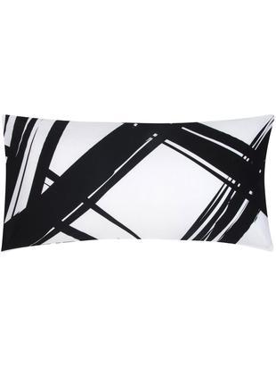Poszewka na poduszkę z bawełny renforcé Brush, 2 szt., Czarny, biały, S 40 x D 80 cm