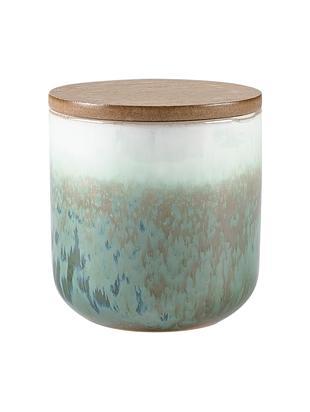 Duftkerze Cactus Blossom, Behälter: Keramik, Grüntöne, Beige, Weiss, Ø 9 x H 9 cm