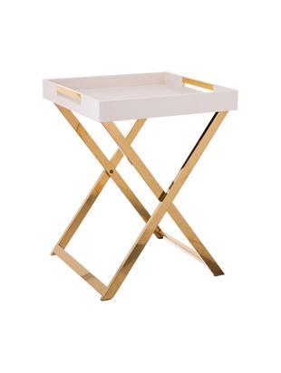 Tavolino-vassoio Megan, Struttura: metallo, Vassoio: pannello di fibra a media, Beige, Larg. 46 x Alt. 55 cm