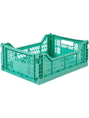 Klappbox Mint, stapelbar, medium, Recycelter Kunststoff, Mintgrün, 40 x 14 cm