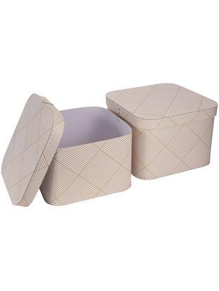 Set scatole Ludvig 2 pz, Solido, cartone laminato, Dorato, bianco, Diverse dimensioni