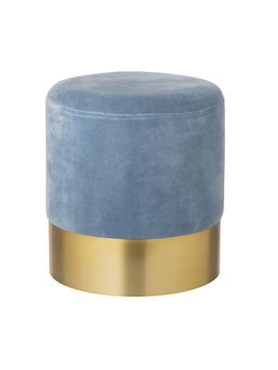 Pouf in velluto Harlow, Rivestimento: velluto di cotone, Azzurro, Ø 38 x Alt. 42 cm