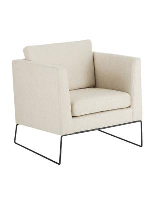 Klassischer Sessel Milo in Beige, Bezug: Hochwertiger Polyesterbez, Gestell: Kiefernholz, Beine: Metall, lackiert, Webstoff Beige, 77 x 75 cm