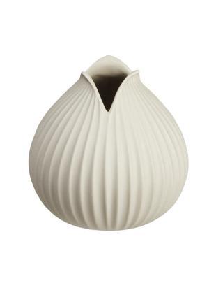 Handgefertigte Vase Yoko, Porzellan, Beige, Ø 10 x H 11 cm