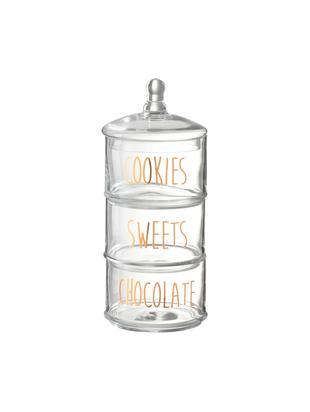 Komplet pojemników do przechowywania  Sweets, 4 elem., Szkło, Transparentny, odcienie miedzi, Ø 18 cm