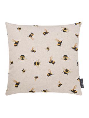 Federa arredo reversibile Biene, 85% cotone, 15% lino, Beige, giallo, nero, Larg. 40 x Lung. 40 cm