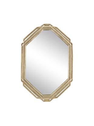 Espejo de pared hexagonal Raute, Poliresina, Latón, An 35 x Al 52 cm