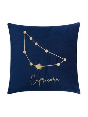 Poszewka na poduszkę z aksamitu Zodiac, 100% aksamit poliestrowy, Ciemny niebieski, Koziorożec