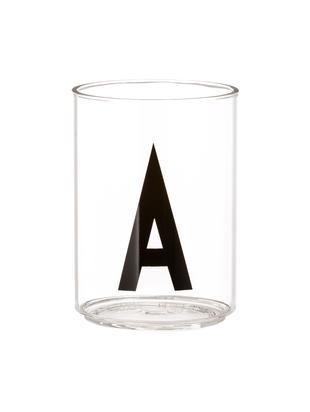 Vasos con letra Personal (variantes de A a Z), Vidrio de borosilicato, Transparente, negro, Vaso A