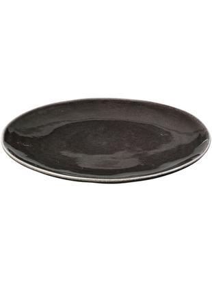 Piatto piano fatto a mano Nordic Coal 4 pz, Terracotta, Marrone scuro, Ø 26 cm