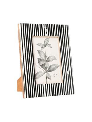 Bilderrahmen Stripe, Rahmen: Büffelknochen, Front: Glas, Rückseite: Mitteldichte Holzfaserpla, Schwarz, Weiß, 10 x 15 cm