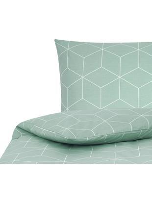 Renforcé-Bettwäsche Lynn mit grafischem Muster, Webart: Renforcé, Mint, Cremeweiß, 135 x 200 cm