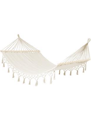 Hangmat Hammock, Frame: grenenhout, metaal, Ligvlak en ophanging: crèmekleurig. Frame: grenenhoutkleurig, 110 x 190 cm