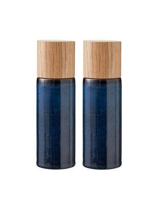 Solniczka i pieprzniczka Bizz, 2 elem., Ciemny niebieski, brązowy, drewno naturalne, Ø 5 x W 17 cm