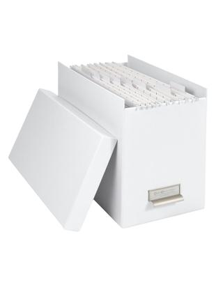 Scatola-archivio per documenti Johan, 9 pz., Organizzatore esterno: bianco organizzatore interno: bianco, L 19 x A 27 cm