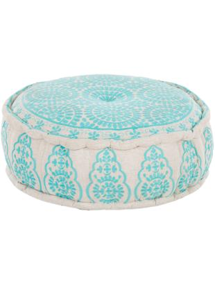 Cuscino da pavimento ricamato Nomad, Rivestimento: tela di cotone solido, Turchese, beige, Ø 60 cm