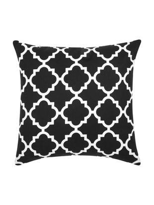 Kissenhülle Lana mit grafischem Muster, Baumwolle, Schwarz, Weiß, 45 x 45 cm
