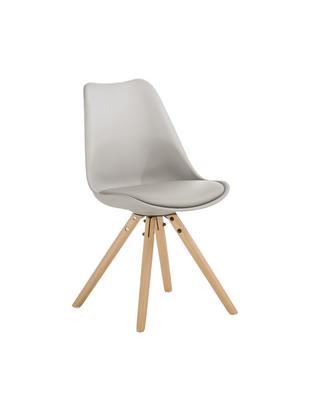 Krzesło Max, 2 szt., Nogi: drewno bukowe, Siedzisko: beżowoszary Nogi: drewno bukowe, S 46 x G 54 cm